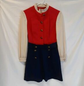 Vintage Lanz Original Bright Red Wool Long Sleeved Dress Jumper Nautical Themed