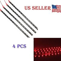"Red 4PCS 12V 12"" 15SMD Flexible LED Strip Light Waterproof For Car Truck Boat"