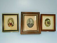 Lovely Vintage Miniatures Prints On Silk x 3