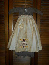 Primitive Wall Decor Dress BLACK CHECK W/APRON Home is Where the Heart Is,Grungy