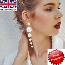 Long Dangle Drop Pearls Earring Gold Exaggerate Big ZARA UK New Fashion Free PP