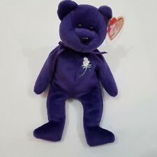 Princess Diana beanie baby bear purple rose TY 1997