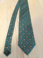Alynn Neckwear Men's Tie Kelly Green Racing Saddles 100% SIlk Neck Tie