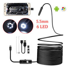 5M Android Endoscope 6 LED 5.5mm Snake Borescope Micro USB Inspection Camera