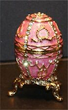 Enameled Collectible Replica Egg Jeweled gold pink rhinestone 2 inch