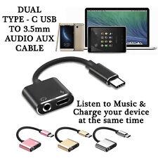Dual Tipo-C USB A 3.5mm Aux Jack Adaptador de Auriculares/Conector Cable Xperia