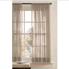 "Better Homes Crushed Sheer Panel Curtain Rod Pocket Beige 63"" Length (T66)"
