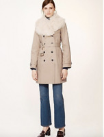 NWT TORY BURCH DELPHINE TRENCH COAT JACKET 4 BRITISH KHAKI SHEARLING $650