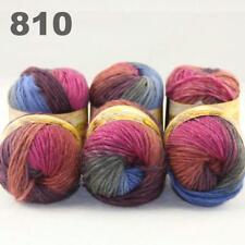Sale New 6 Skeins x50gr Rainbows Multicolor Hand Knit Wool Yarn Wrap Scarves 10
