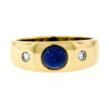 Vintage 18K Gold 1.60ctw Cabochon Ceylon GIA Sapphire & Diamond Three Stone Ring