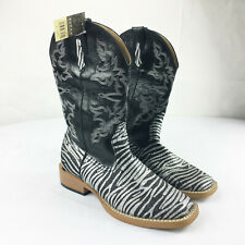 Roper Glittery Silver Black Zebra Cowboy Boots Sz 6 Womens Circle Dancing Wester