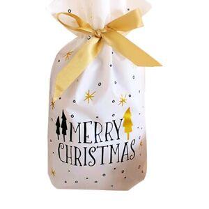 10 pcs Christmas Santa Candy Gift Bags Cookies Pouches Drawstring Bag Xmas Decor