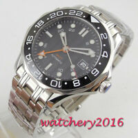 41mm bliger sterile black dial sapphire gmt ceramic bezel automatic men's watch