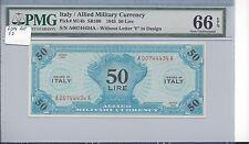 Italy Series 1943 BEP 50 Lire Pick M14b PMG 66 EPQ GEM UNC x Ruth Hill
