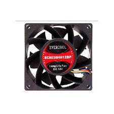Evercool 80mm x 80mm x 38mm High Speed Ball Bearing Fan, 4Pin PWM (EC8038HH12BP)