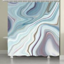 Abstract Shower Curtain Bathroom Fabric Marble Ink Texture & 12 Hooks Set 71""