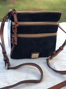 Dooney & Bourke Suede Triple Zip Crossbody women bag black color