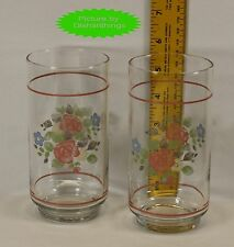 Pfaltzgraff TEA ROSE 12 ounce Water Glasses Set of 2 WITH Pink Rings MINT!