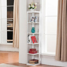 5 Tier Wood Wall Corner Bookshelf Rack Storage Display Shelves Organizer Stand