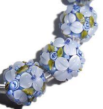 Lampwork Glass Flower Beads Raised Petals Blue 15 mm Round 4 Beads (#a33b)
