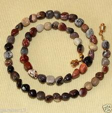 Silver Leaf Jasper Necklace 5mm - 7mm Pebble Beads. Reiki Healing Necklace