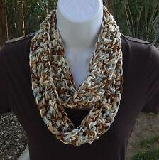 SUMMER SCARF Infinity Loop Blue Brown Tan White Small Skinny Cowl Crochet Knit