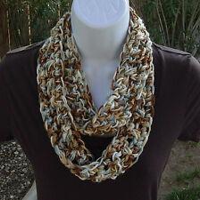 SUMMER SCARF Infinity Loop Blue Brown Tan White Small Skinny Cowl Crochet Knit