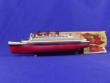 Pre War Boxed German Made Clockwork Tinplate RMS Queen Mary Liner