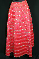 "RARE UNUSUAL VINTAGE 1950'S RED GRASS RAFFIA CIRCLE SKIRT RED & GREEN TRIM 26"" W"