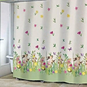 Easter Shower Curtain Playful Bunnies in Floral Field Spring Holiday Decoration