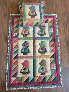 """Vintage Holly Hobby Doll Quilt & Pillow Hand-quilted Hand Made multicolor 13x23"""""""