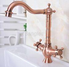Antique Brass Double Cross Handle Bathroom Faucet Vanity Sink Mixer Tap 8nf618
