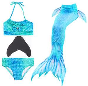 Swimmable Mermaid Tail Monofin Mono Fins Girls Kids Bikini Set Swimming Costumes