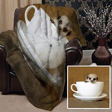 BABY MEERKAT IN TEACUP DESIGN SOFT FLEECE LARGE CHAIR THROW BED WARM GIFT SOFA