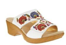 Alegria Women Embroidered Leather Slip On Linn Wedges $110 TINI {&}