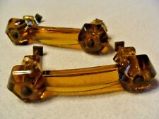 PAIR VINTAGE AMBER  ROOT BEER GLASS CABINET DRESSER DRAWER HANDLES HARDWARE