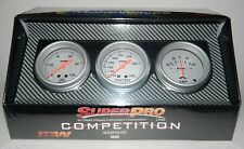 "NEW SUPERPRO COMPETITION 2 5/8"" 3 GAUGE PANEL SET OIL PRESSURE WATER TEMP AMPS"