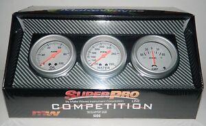 "NEW SUPERPRO COMPETITION 2 5/8"" 3 GAUGE PANEL SET OIL PRESSURE WATER TEMP AMPS"
