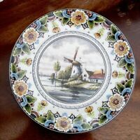 Vintage DELFT POLYCHROME Plate Limited Edition. Windmill. Handmade Holland.