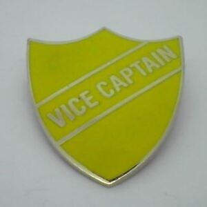 Vice Captain Enamel School Shield Badge - Yellow
