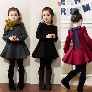 Kids Girls Plain Winter Dress Long Sleeve Bow Knot Lace Up Bell Ruffle Sundress
