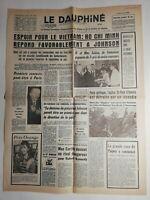 N287 La Une Du Journal Le dauphiné 4 avril 1968 espoir Vietnam ho chi Minh