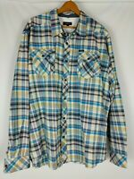 AKOO Men's Long Sleeve Plaid Shirt Button NWOT Blue Multicolor Logo Pockets 3XL