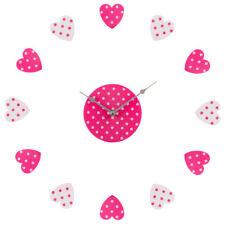 Premier Housewares DIY Wall Clock, Pink/White Heart Plastic, Customisable Layout