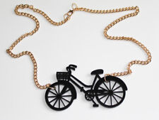 Vintage Bicycle Laser Cut Acrylic Necklace - Gold Chain - Quirky Retro