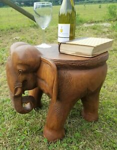 """Large Elephant Table/Solid Wood/Hand Carved/Lamp Table/Plant Stand/Waxed 14"""""""