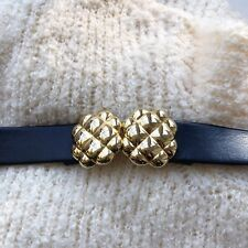 Vintage Womens Black Leather Belt Gold Round Clasp Hardware 32