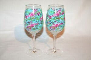 Pair of Lilly Pulitzer Lobstah Lobster Roll Acrylic Wine Stems Nice