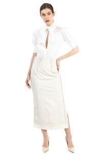 RRP€320 AQUILANO-RIMONDI Straight Skirt Size IT40 / XS Linen & Silk Blend Coated