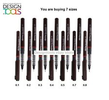 Rotring Tikky Graphic Technical Drawing Pens set with 7 PENS - 0.1 TO 0.8